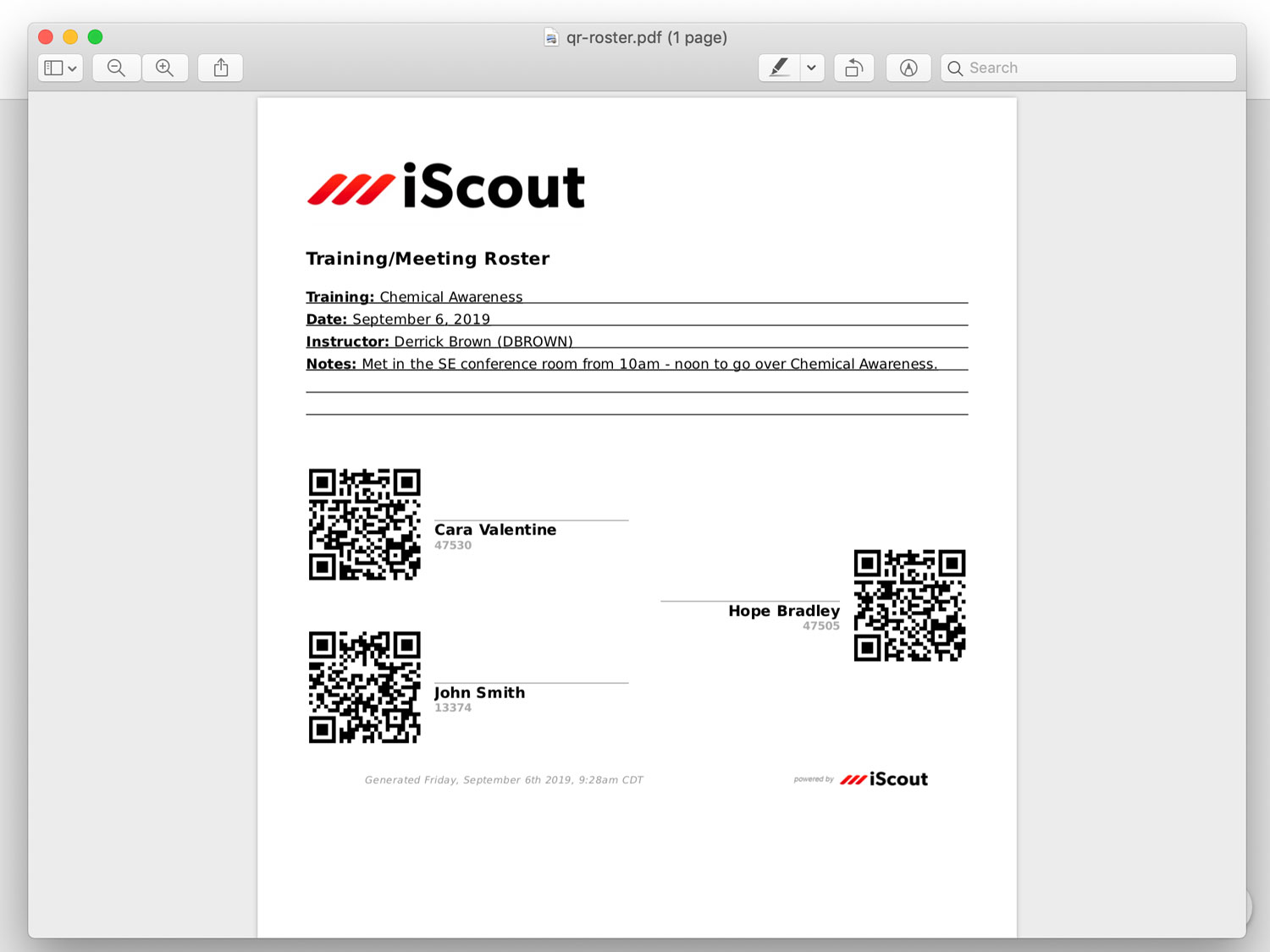 Training QR And Sign-In