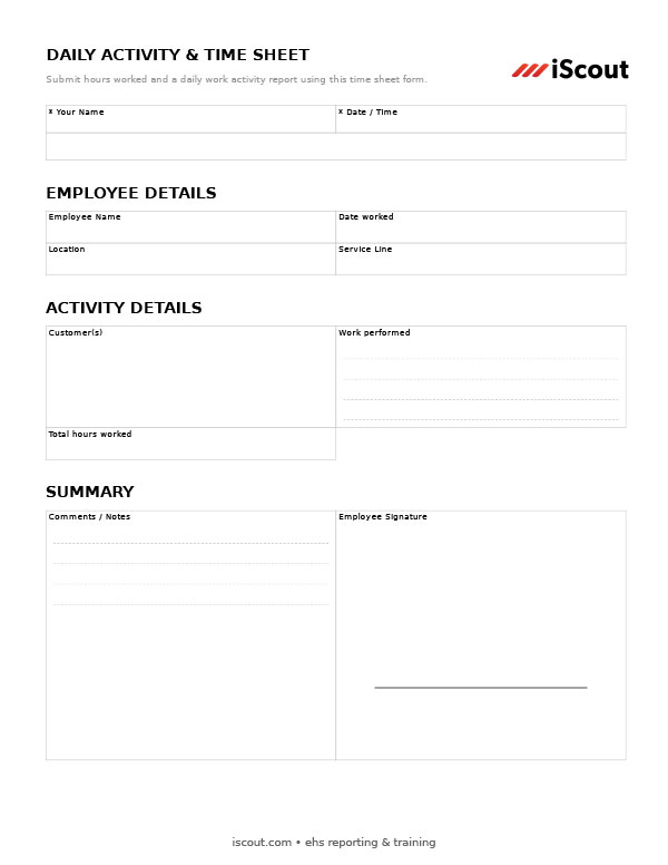 Daily Activity & Time Sheet