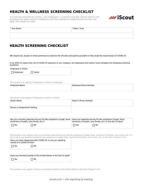 Health & Wellness Screening Checklist