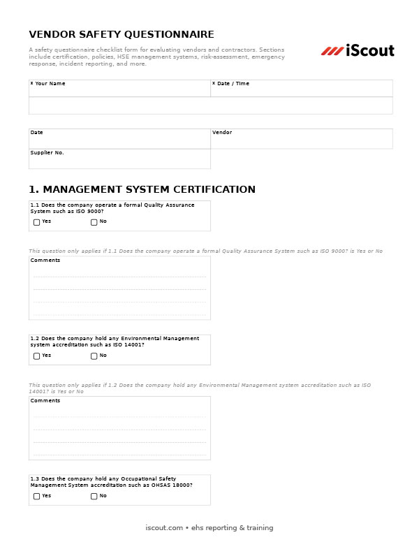 Vendor Safety Questionnaire - Printable PDF